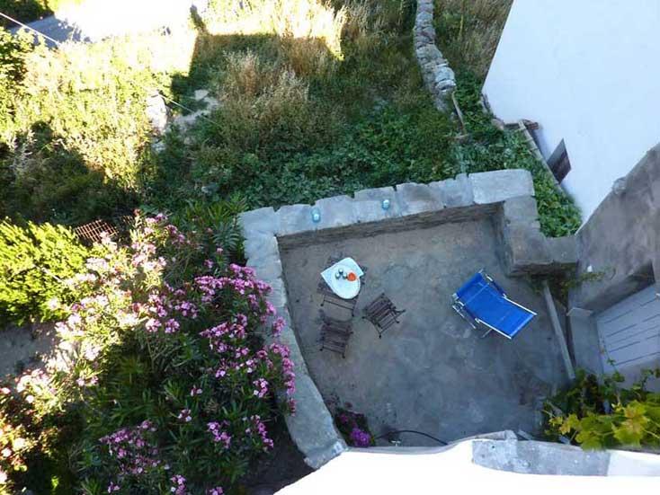 blue house Greece terrace