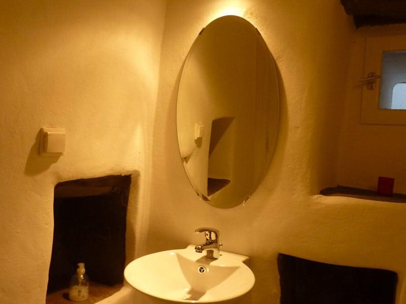 blue house Greece bathroom