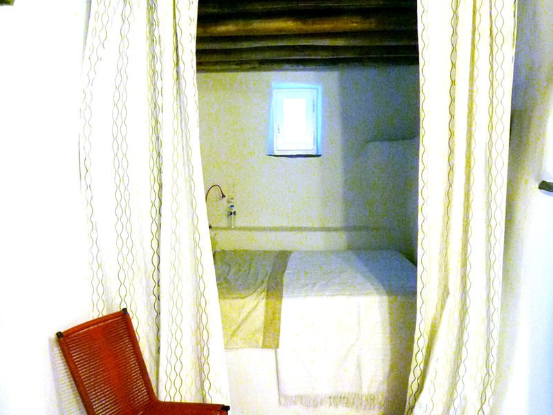 blue house Greece bedroom
