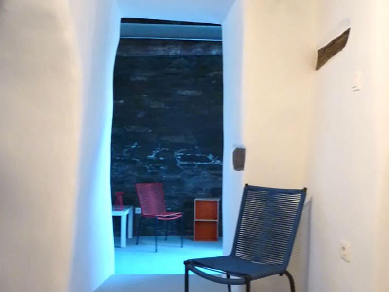 blue house Greece entrance