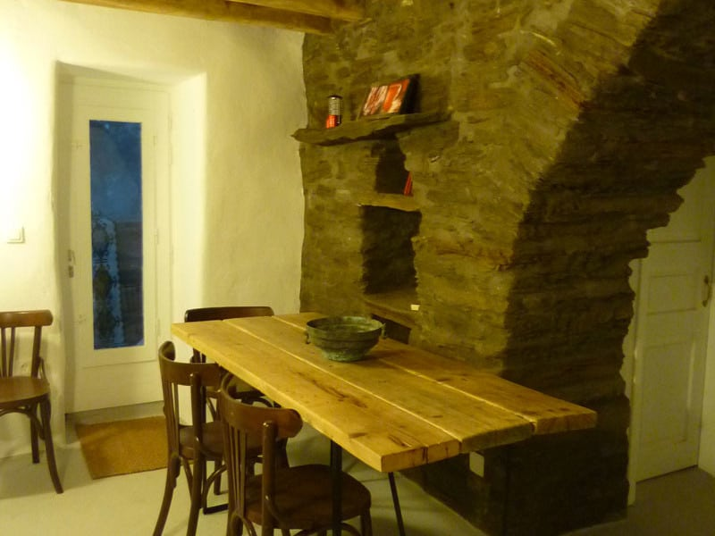 blue house Greece table in the kitchen