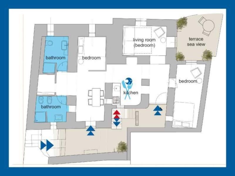 blue house Greece map